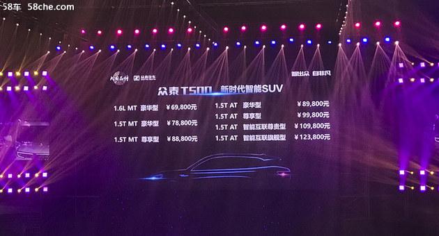 众泰T500正式上市 售价6.98-12.38万元