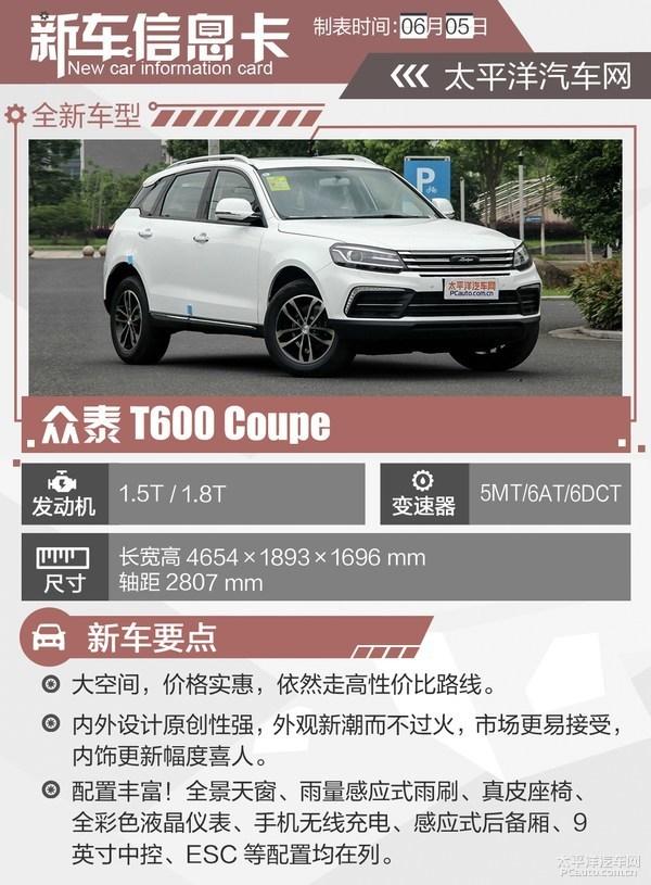 众泰T600 Coupe今上市 预售8.68-14.68万【预签6月9日】