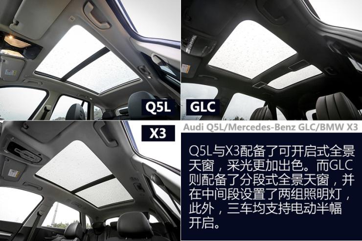 Q5L/GLC/X3对比评测内饰