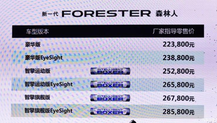 斯巴鲁 森林人 2019款 2.0i 智擎旗舰版EyeSight