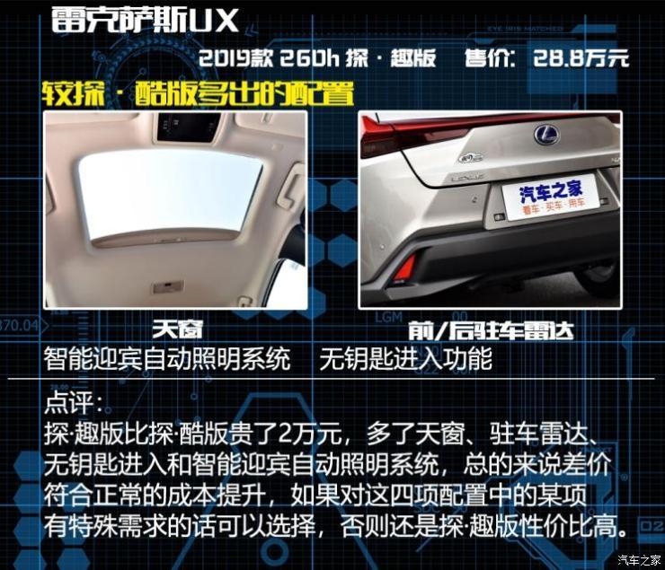 雷克萨斯 雷克萨斯UX 2019款 260h 探·酷版 国VI