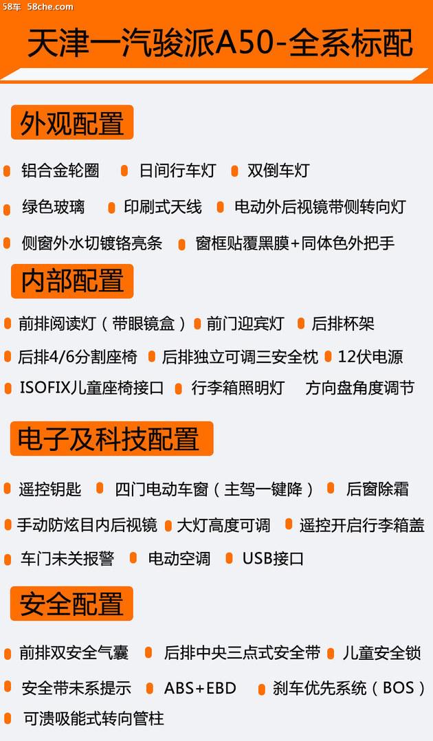 骏派A50购车手册 推荐智联版本车型