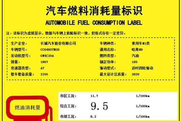 新款哈弗H8汽车燃料消耗量标识