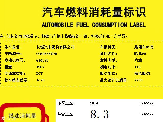 哈弗F6/F6S动力曝光 搭2.0T增压发动机